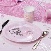 Assiettes en carton Jolie Princesse Rose & Or (x4)