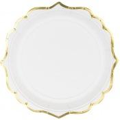 Assiettes en carton Lisière Blanc & Or