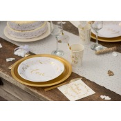 Assiettes en carton Love Blanc & Or (x5)