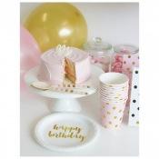 Assiettes en carton Or Happy Birthday (x12)