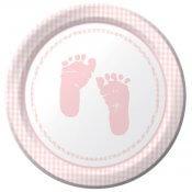 Assiettes en carton Pieds Rose Baby Shower (x8)