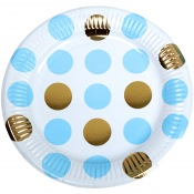 Assiettes en carton à pois Bleu & Or (x8)