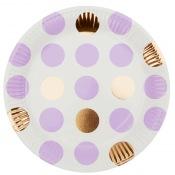 Assiettes en carton à Pois Mauve & Or (x4)