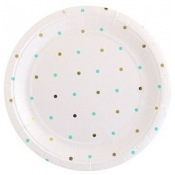 Assiettes en carton Pois Mint & Or (x5)