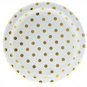 Assiettes en carton à pois Or (x6)