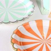 Assiettes en carton Rayures Corail (x4)