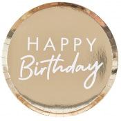 Assiettes en carton Rond Happy Birthday Or (x8)