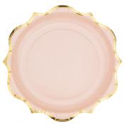 Assiettes en carton Rose Poudré Lisière Or (x8)
