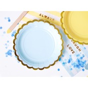 Assiettes en carton Uni Bleu & Or (x6)
