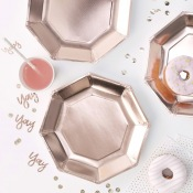 Assiettes en carton Uni Rose Gold (x4)