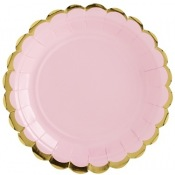 Assiettes en carton Uni Rose & Or (x6)
