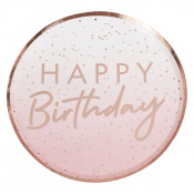 Assiettes Happy Birthday Ombre Rose Gold (x4)