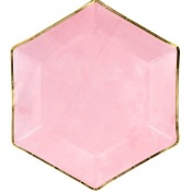 Assiettes Hexagonale Rose & Or (x6)