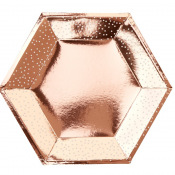Assiettes Hexagonales Rose Gold Pois Blanc (x4)