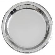 Assiettes rondes en carton Argenté (x8)