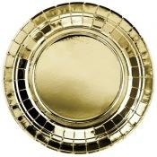 Assiettes rondes en carton or métallisé (x8)