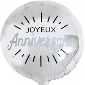 Ballon Aluminium Argent Joyeux Anniversaire