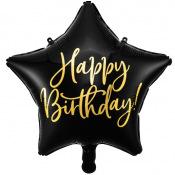 Ballon Etoile Mylar Happy Birthday Noir & Or