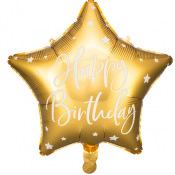 Ballon Etoile Mylar Happy Birthday Or