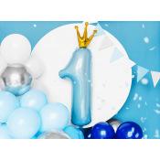 Ballon Mylar Chiffre 1 Couronne Bleu & Or