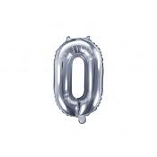 Ballon mylar chiffre argent anniversaire + Tige (mini)