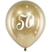 Ballons Anniversaire 50 ans Or Chromé (x6)