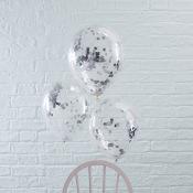 Ballons confettis Argent (x5)