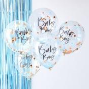 Ballons Confettis Bleu & Rose Gold Baby Boy (x5)