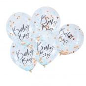 Ballons Confettis Bleu & Rose Gold Bayby Boy (x5)