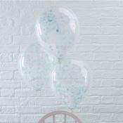 Ballons Confettis Bleu (x5)