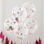 Ballons Confettis Coeur Rose Gold