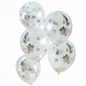 Ballons confettis Etoile Argent (x5)
