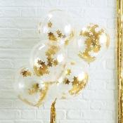 Ballons Confettis Etoile Or (x5)