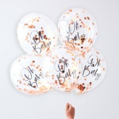 Ballons Confettis Oh Baby Rose Gold (x5)