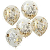 Ballons confettis Or Oh Baby (x5)