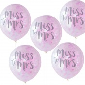 Ballons Confettis Rose EVJF Miss to Mrs (x5)