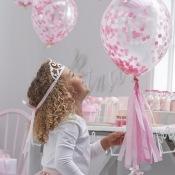 Ballons Confettis Rose (x5)