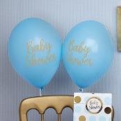 Ballons de baudruche Baby Shower Bleu et Or (x8)
