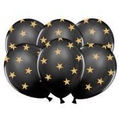 Ballons de baudruche Etoile Noir & Or (x5)