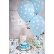 Ballons de baudruche à pois Bleu Pastel (x5)