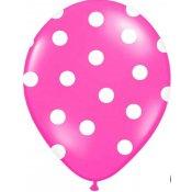 Ballons de baudruche à pois Rose Fuschia (x6)