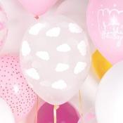 Ballons de baudruche Transparent Nuages Blanc (x5)
