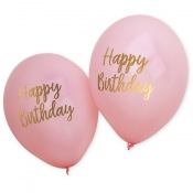 Ballons Happy Birthday Rose & Or (x4)