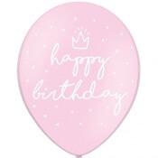 Ballons Happy Birthday Rose Pastel (x6)