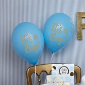 Ballons It's a Boy Bleu et Or (x8)
