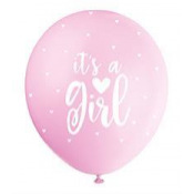 Ballons It's a Girl Nacré Rose Pastel (x5)