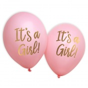 Ballons It's a Girl Rose et Or (x8)