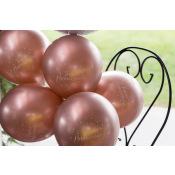 Ballons Joyeux Anniversaire Métallisé Rose Gold (x6)