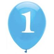 Ballons latex Bleu Chiffre 1 (x6)