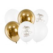 Ballons Latex Happy Birthday Blanc & Or (x5)